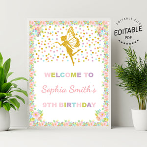 Fairy birthday welcome sign