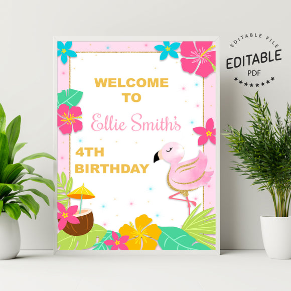 Flamingo birthday welcome sign