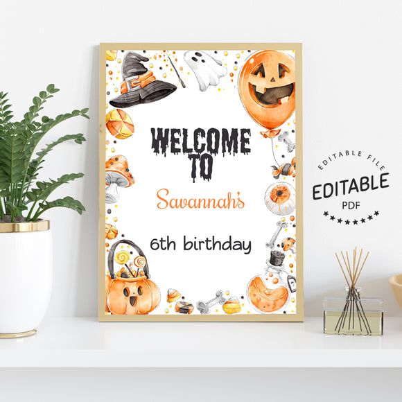 Halloween birthday welcome sign