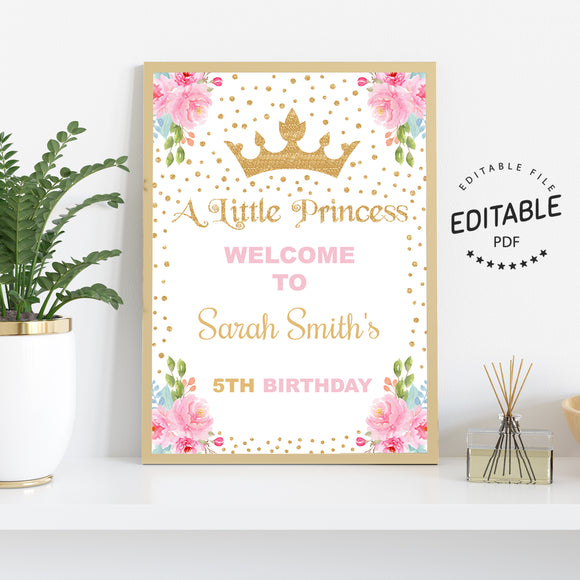 Princess birthday welcome sign