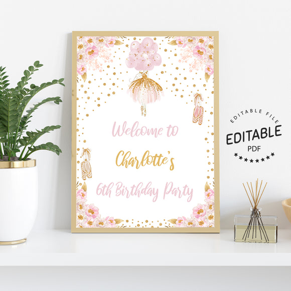 Ballerina birthday welcome sign