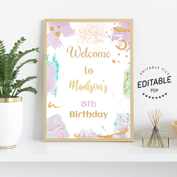 Painting art birthday welcome sign