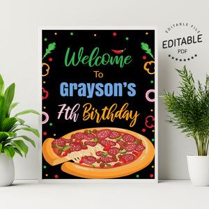 Pizza birthday welcome sign