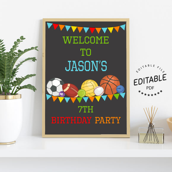Sports birthday welcome sign