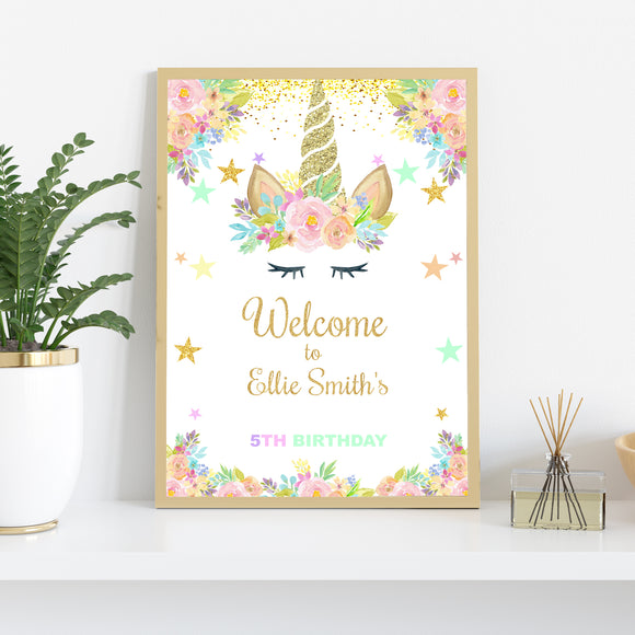 Unicorn birthday welcome sign