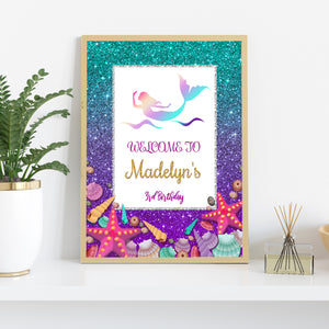 Mermaid birthday welcome sign