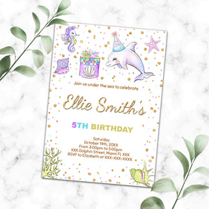 Dolphin birthday invitation