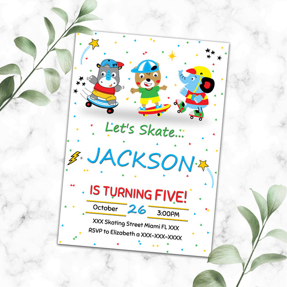 Skating birthday invitation
