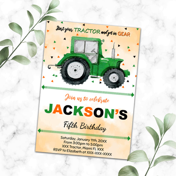 Tractor birthday invitation
