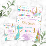 Unicorn and Mermaid birthday invitation