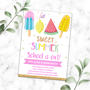 End of school party invitation