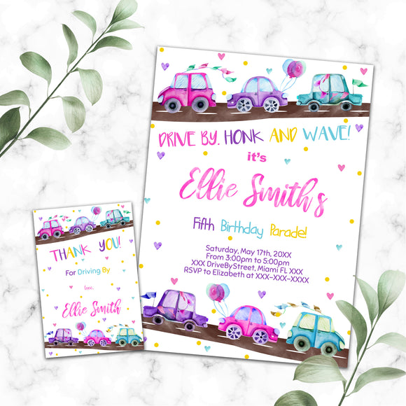 Drive By Birthday Parade Invitation