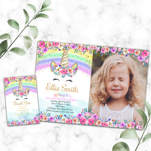 Unicorn birthday photo invitation