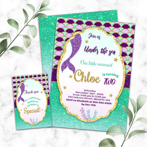Mermaid birthday invitation
