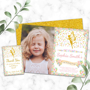 Fairy birthday photo invitation