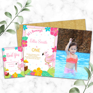 Flamingo birthday photo invitation