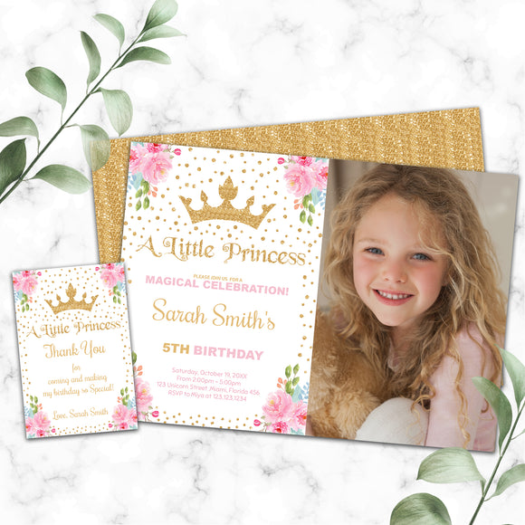 Princess birthday photo invitation