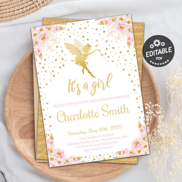 Fairy baby shower invitations