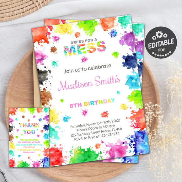 Painting birthday invitation