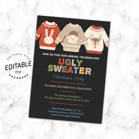 Ugly sweater invitation, instant download