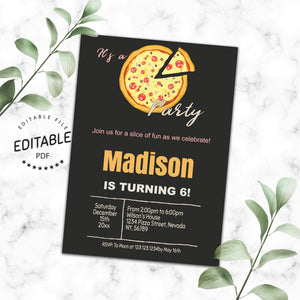 Pizza birthday invitation