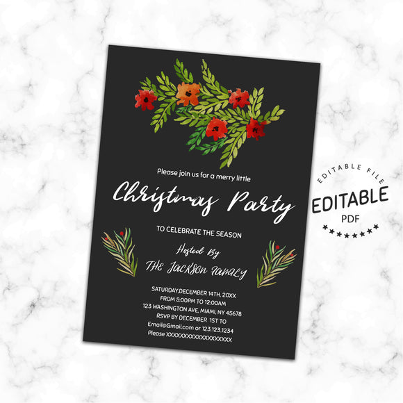 Christmas invitation, instant download