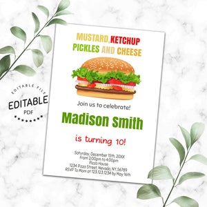 Burger birthday invitation