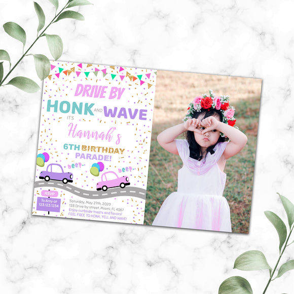 Drive By Birthday Parade Photo Invitation
