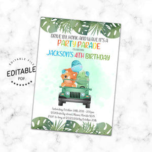 Dinosaur Drive By Birthday Parade Invitation