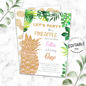 Pineapple birthday invitation