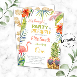 Pineapple and Flamingo birthday invitation