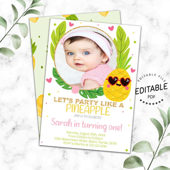 Pineapple birthday photo invitation