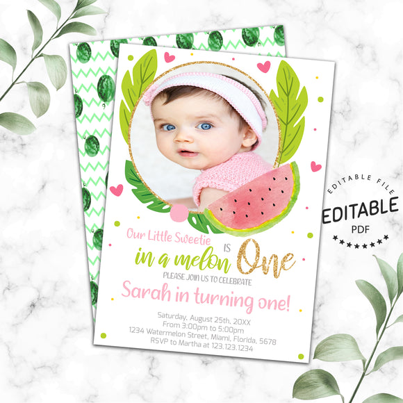 Watermelon birthday photo invitation