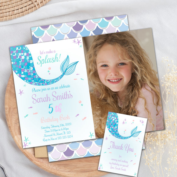Mermaid birthday photo invitation