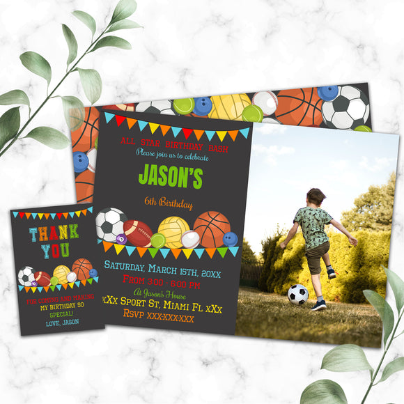 Sports birthday photo invitation