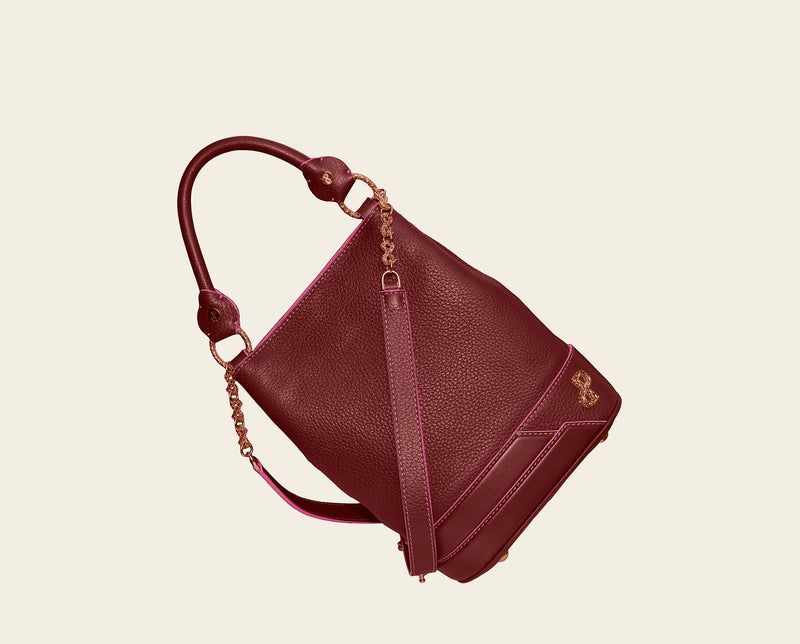 The AELIA Multifunctional Mini backpack in Bordeaux for day & evening wear.