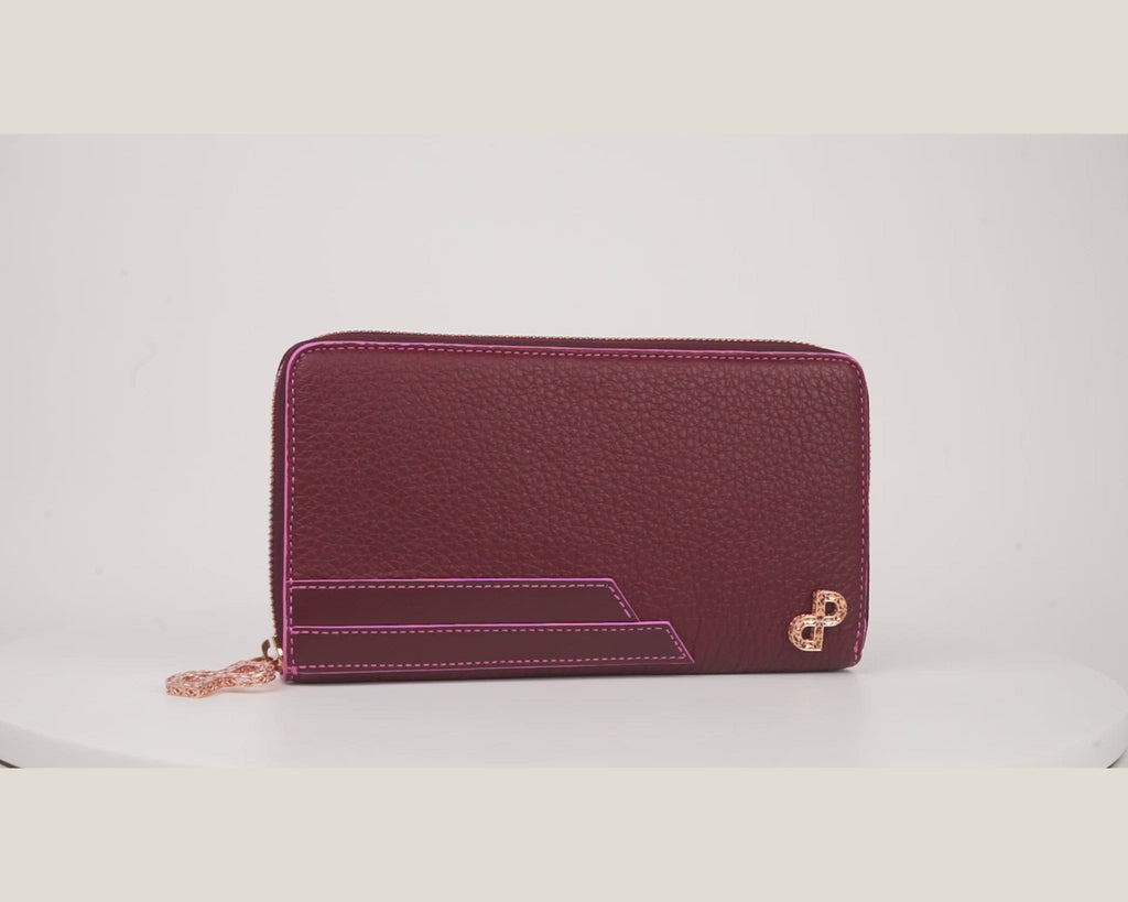 LUCILLA is the 1st ever all-in-one luxury wallet in Bordeaux decorated in unprecedented 3D hardware.