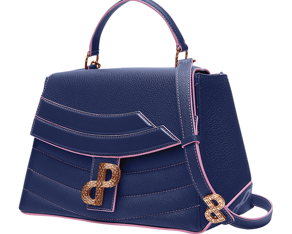 A multi-look bag in Navy lends itself to be worn throughout the day and evening