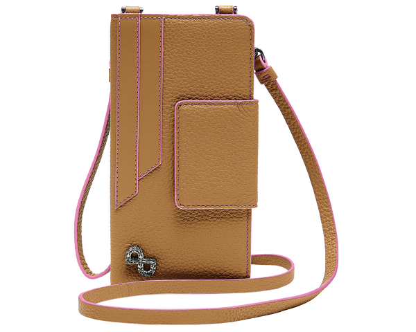 A multi-functional crossbody crafted in 3D hardware to be worn hands-free on the neck or use as a classic wallet.