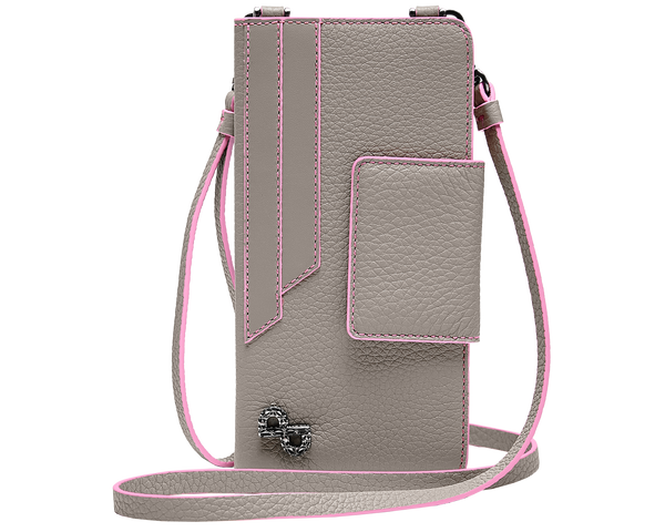A multi-functional crossbody crafted in 3D hardware to be worn hands-free on the neck or use as a classic wall