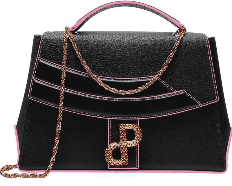 The LIVIA bag in signature Trapeze silhouette in BLACK-All MADE IN ITALY