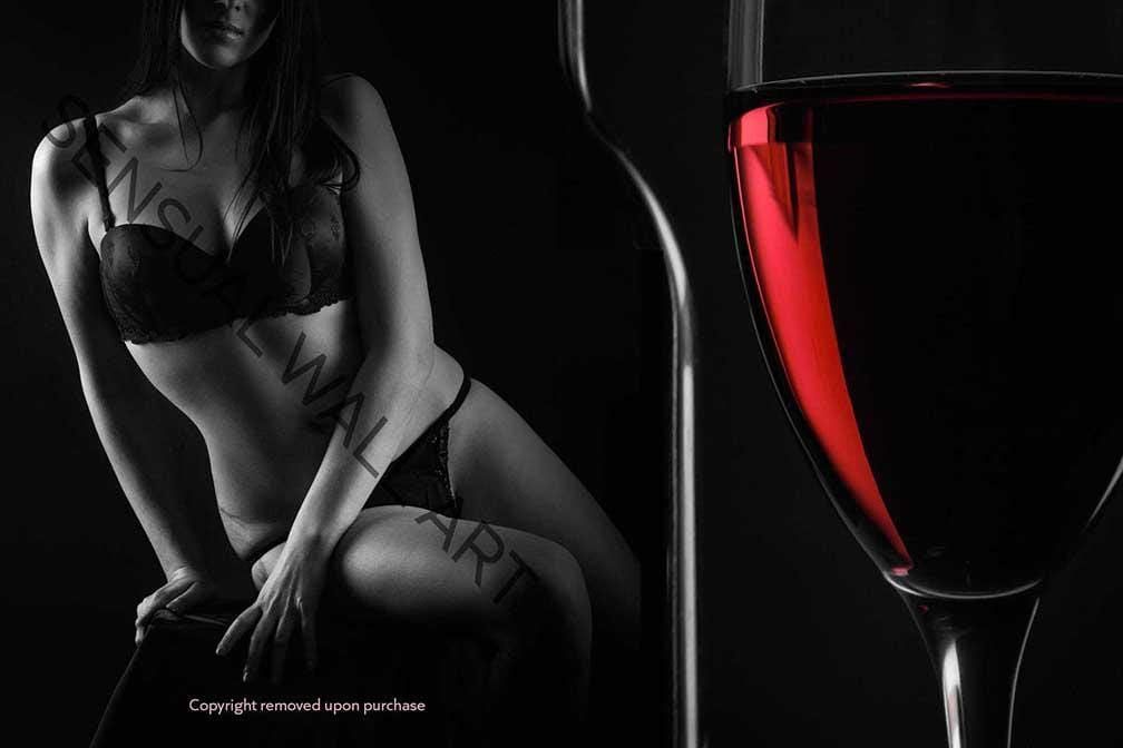 sexy woman in lingerie glass of red wine black and white and color print