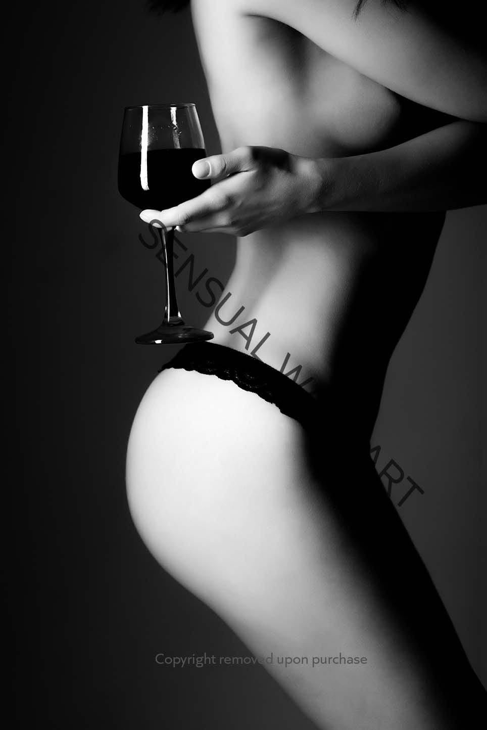sexy female body bare breast lingerie holding glass of wine poster print