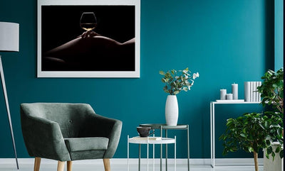 Nude Silhouetted Woman & White Wine Seductive HD Wall Print