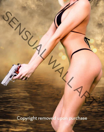 young woman beautiful body armed with pistol poster