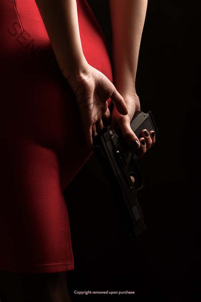woman red dress holding pistol backside view
