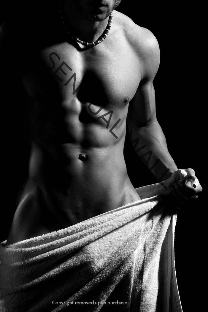 male nude barely covered with towel black and white poster