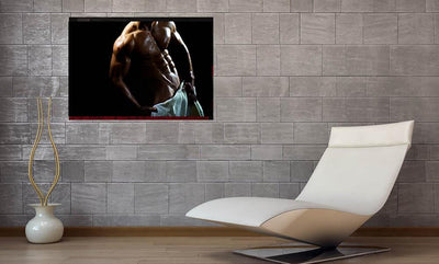 nude muscular male with towel  wrap color poster