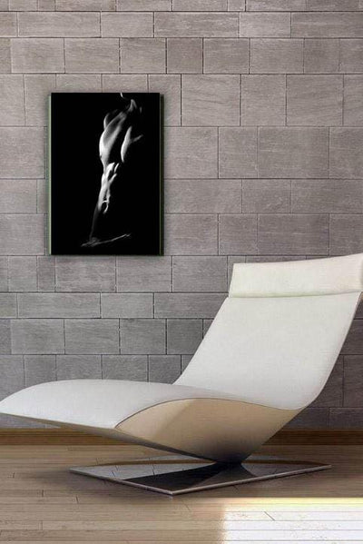 nude male model frontal poster in black and white