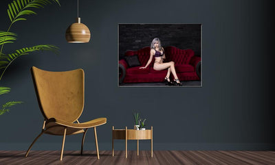 silver hair young woman in lingerie lying on red couch poster